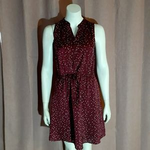 Burgundy dress with polka dots - soft fabric Aline